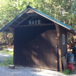 Saw this small man cave or possibly deluxe out house with a name on it.  Oh Dave.