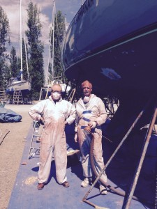 Mike & Mike all suited up for the sanding party. They got the whole bottom prepped in the blistering Port Townsend heat. They're the best!