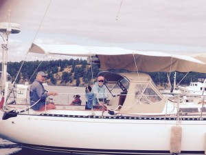 Our good buddies Dave & Mary Utley aboard one of the two prettiest boats in the harbor-Morning Star.  Big sister to Carmanah.