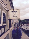 Donna & Ev just before entering the venerable Herb's--the original fave hang out for us in Friday Harbor.  Blues band playing.  3 other places in town with live music tonight as well.  A happening place.