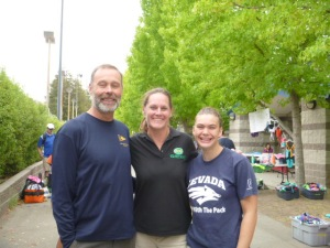 John with Niece Karrin and her coach Rachel Scott--who many years ago was a player on the BHS girls polo team and went on to a Silver Metal in the Olympics.