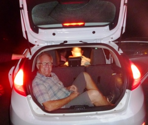 Bob in the Ford Fiesta he rented for the group to get around San Diego. 7 people crammed in may not be a record but sure felt like it.