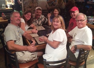 "The crew is all together now, ""strategizing"" over dinner. Mike, Teri, Me, Donna, Mikey, Bob, and Peggy."