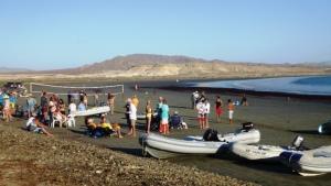 The beach landing inside the mangrove lagoon at Bahia Santa Maria.