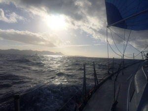 Underway on leg 3 to Cabo San Lucas. Started with a nice spinnaker run and escalated overnight to an exciting night ride in the high 20s and big following seas. Carmanah performed beautifully.