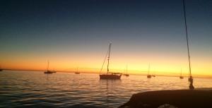 Sunset in the anchorage a Bahia Santa Maria.