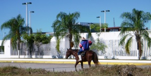 "At the government owned ""over the top' marina in San Blas, a huichoes (local indigenous people) horseman provides contrast to the ultra modern facility."