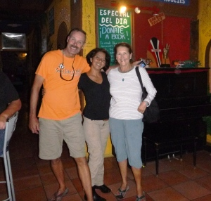 Gabriel treated us well at The Shack in La Paz with 32 oz drafts for $2. A regular stop (note the smiles)