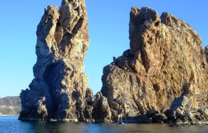 San Juanico rock formations near the anchorage