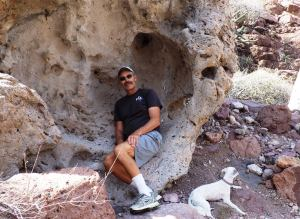 "The ""short"" boulder hike across Isla Partida had Lucy & I seeking what little shade we could find."
