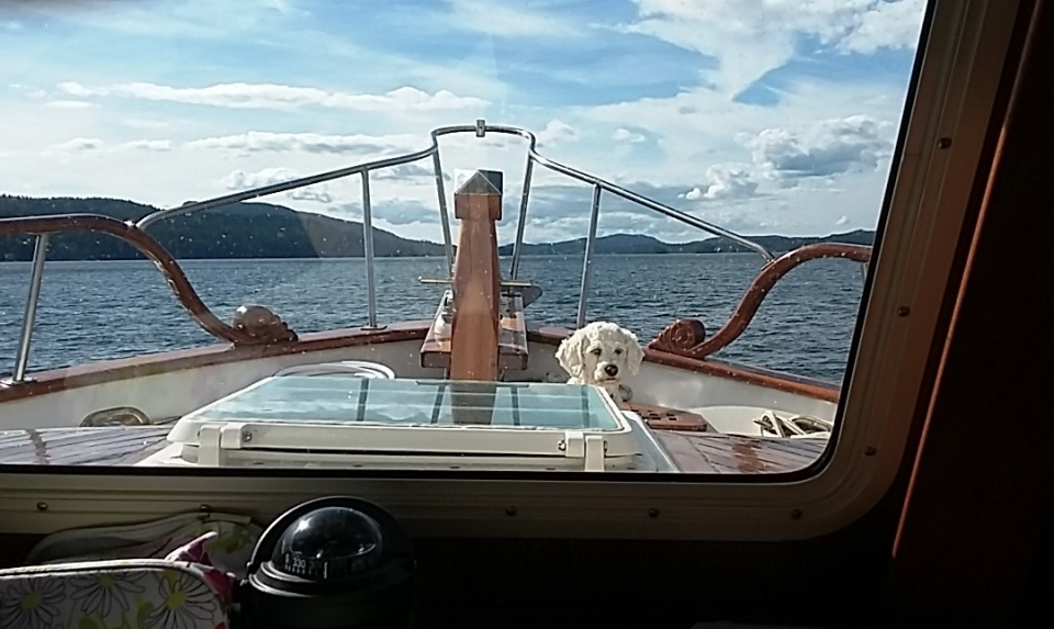 lucy on bow of Restless