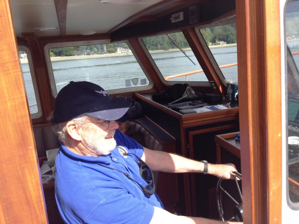 skipper at helm