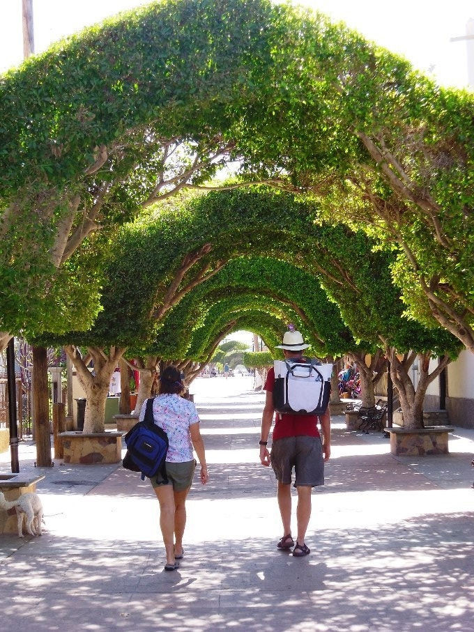 Arched walkway into the town of Loreto from the waterfront Malecon where we landed our dinghy. Ready to load up with supplies. The backpack cooler that Linda gave us works great for keeping purchases cool.