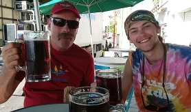 Sam and I enjoying 40 ounce drafts in La Paz after the long passage from La Cruz to the Baja.