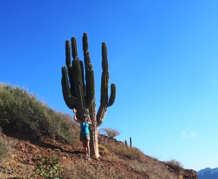 Emily performing some yoga poses in front of a really large cactus while she waits for Don and I to catch up as we climb the steep slopes surrounding Honeymoon Cove.