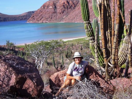 Donna taking a break from the attempted climb to the rim of Coleta Partida---a beautiful anchorage and volcano crater.