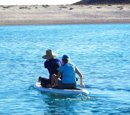 Riding double on the paddle board and kayak often precluded the need to launch the dinghy at many anchorages.