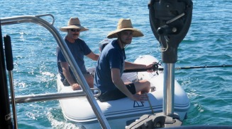 Sam and John returning from another fishing expedition a Bahia Muertos.