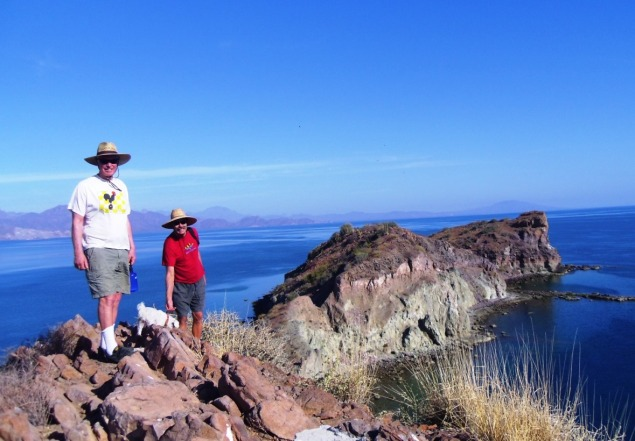 Don and John on the spine of Danzante Island--unbelievable views. Don had recent knee surgery so a pretty challenging walk. The white socks helped though.