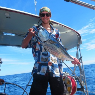 Our nephew Sam caught a skip jack on the last day of the crossing to Baja.