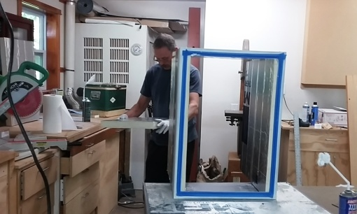 "Building the new refrigerator in our shop on Bainbridge. We used 4 inches of foam and an Isotherm external compressor with holding plate to replace the ""dorm fridge"" that came with the boat."