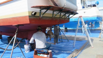 Oh boy--more sanding. We hauled Restless out May 19th for a fresh coat of bottom paint.