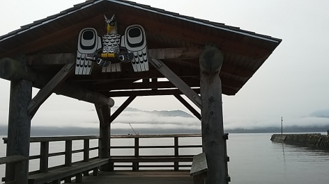 The native village at Alert Bay on Cormorant Island near Port McNeil has many interensting features like this look out honoring the Raven Clan, one of many along the waterfront. We traveled over on the ferry to see the U'mista Cultural Centre opened in 1980 to house potlatch artifacts previously seized by the Canadian government. It was spectacular but no photos allowed.