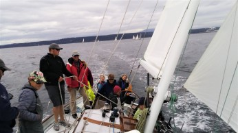A repeat win for John & Ann Bailey's schooner Sir Isaac at the Wooden Boat Festival in Port Townsend. I was on foredeck, John likes to keep the bow weighted down.
