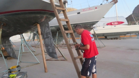 First chore, build a ladder so we can get on the boat.