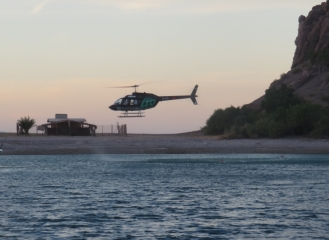 Really?! Landing a helicopter on the tiny beach at Aqua Verde? Next to our dinghy? Luckily they didn't stay too long.