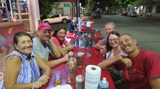 Crews of Carmanah, Huakai, and White Raven enjoying the best ribs in Mexico. J&R Ribs in La Paz. Rick and Susie (back left) brought White Raven down from Olympia this past fall. W
