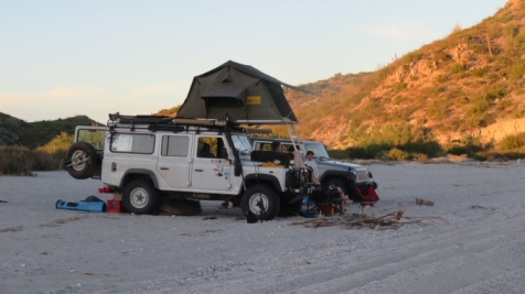 Lots of gringos camp along the Baja coast. Out of the way beaches like San Juanico are accessible with the right vehicle. We saw several camp setups where the sleeping was on the roof of the vehicle.