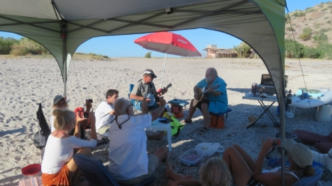 We had a really nice Thanksgiving potluck on the beach at Aqua Verde on the Baja. Note the paddle board serving tables.