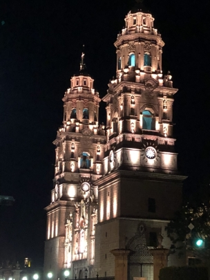 The Morelia Cathedral at night.