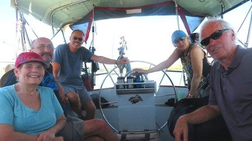 The whole gang sailing up to Tenacatita. We had to draw straws to see who got to sleep in the cockpit.