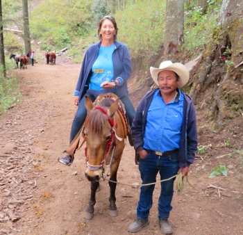 The final hike to see the butterflies is at 9,000 ft. Donna opted to ride Esperanza over the hill with handler Arturo rather than huff and puff with the rest of us less intelligent in the party. I get light headed just remembering the hike.