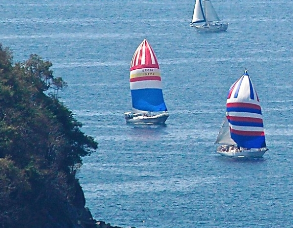 Carmanah with the red/white/blue/yellow spinnaker chasing down a Cal 48 from an earlier start in the Race Around the Rock.