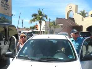 And they're off' Bob and Peggy rented a car in La Paz so they could explore as they traveled to the Los Cabos Airport. First stop Hotel California in Todo Santos. Bob's recent driving experience in Jamaica fully prepared him for driving in Mexico.