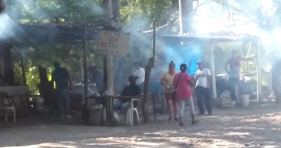 Cooking fishy carandeado style---slowly in the wood smoke is delicious. These guys in San Blas have the fires going all day. Just bring them a fish you catch or buy at the market and return in two hours, it's ready. Yum.