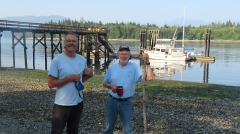 Dad & I on the beach at Port Neville just off the Johnstone Strait.