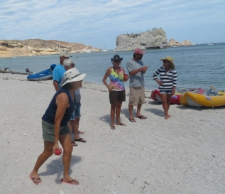 Donna throwing the Bocce Ball on the beach at San Juanico. A number of boats spent the week here for the annual Ship Wreck party.