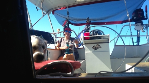 Donna steering us down the Baja coast on a lazy spinnaker run.