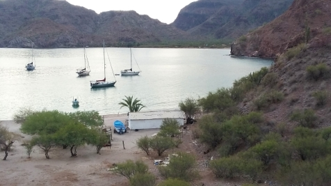 The Agua Verde anchorage just south of Loreto, Baja Sur. Easy to get to by boat. Not so with a car.