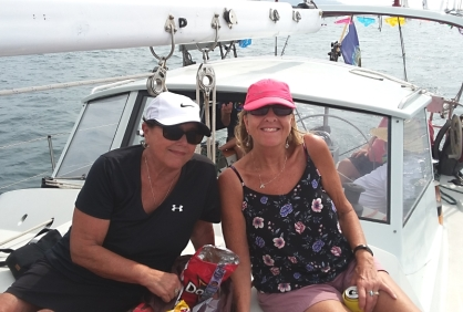 Barb and Gretchen, part of our Quincy Crew for the Sailfest race around the rock. They've signed up (and won) each of the 3 three times we've participated in the Zihuatanejo event.