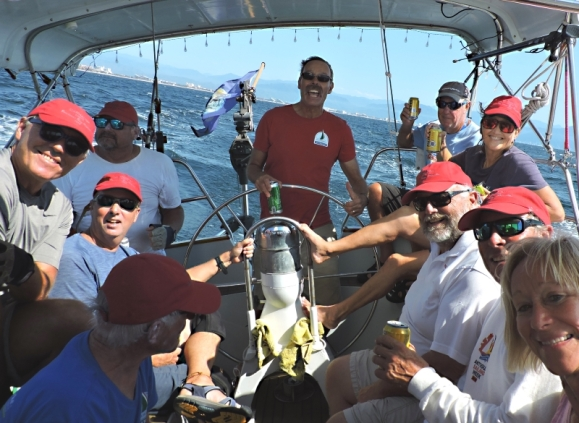 After day 1 of the Banderas Bay Regatta, everyone piled into the cockpit for the ride back to La Cruz with plenty of cold beers. Someone observed that the transom was nearly underwater.