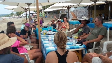 "Bring on the bacon. A ""guilt-free"" breakfeast on the beach in La Manzanillo for the 10 nuts who swam across the bay from Tenacatita--2.25 miles--totally a blast. Both Donna and I were part of the group. The water was 82 degrees."