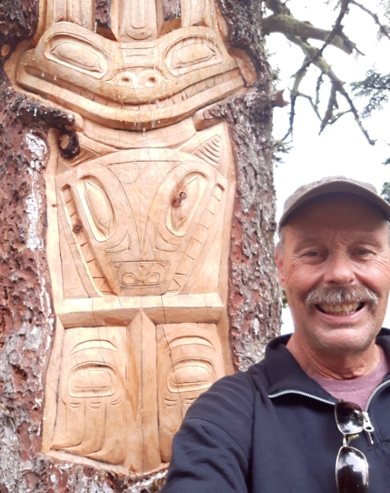 This was carved into a live tree on Mt Roberts in Juneau.