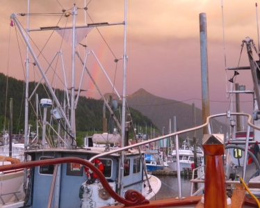 In the marina at Ketchikan, we were treated to a rainbow our first night. The last time the sun was visible for quite a few days