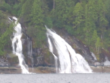 The long, long canals of the inside passage through BC to Alaska are great for a power boat to rack up the miles. And there's plenty of water cascading on either side.