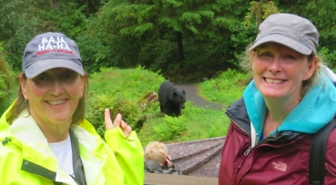 Safely inside the fenced area at the Anan Creek bear observatory, Donna and Linda realize they just hiked the trail in the back ground now occupied by several bears.